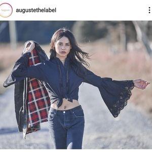 New Auguste Starlight Dancer Angel Black Blouse XS